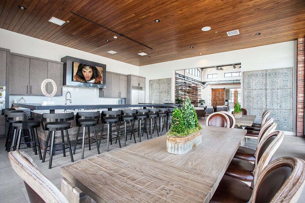 The Clubhouse's professional demonstration kitchen with reservable event & dining area
