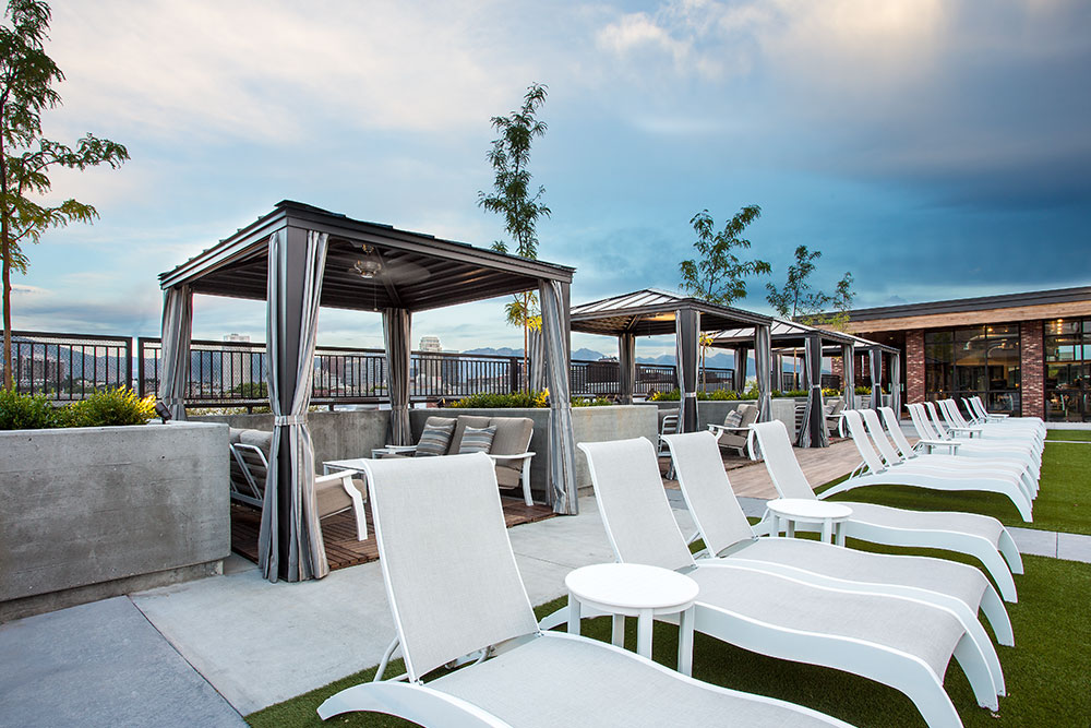 Sky Lounge seating and cabanas by the luxury pool