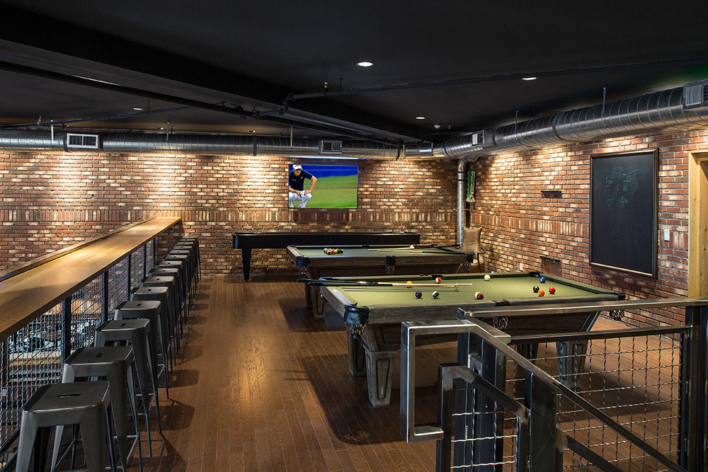 Billiards and shuffleboard upstairs at the Sports Club